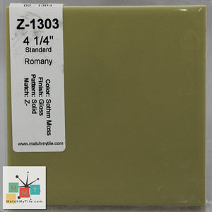 "MMT-1303 Vintage 4 1/4"" Ceramic 1 pc Wall Tile Moss Green Glossy"