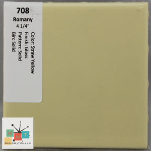 "MMT-708 Vintage 4 1/4"" Ceramic 1 pc Wall Tile Romany Straw Yellow Glossy"