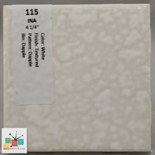 "Load image into Gallery viewer, MMT-115B Vintage 4 1/4"" Ceramic 1 pc Wall Tile INA White Dapple Texture Bullnose"