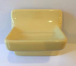 v9-a) Nos Vintage Sunny Yellow Bathroom Accessory Soap Dish Wall Mt Glossy