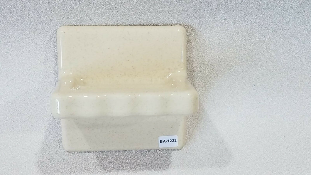 BA-1222 NOS Vintage Ceramic Bathroom Soap Dish Sand w/Brown Speckle Wall Mount