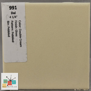 "MMT-991 Vintage 4 1/4"" Ceramic 1 pc Wall Tile Daltile Cream Pebbled Glossy"
