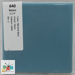 "MMT-640 Vintage 4 1/4"" Ceramic 1 pc Wall Tile Stylon Mineral Blue Glossy"