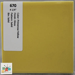 "MMT-670 Vintage 4 1/4"" Ceramic 1 pc Wall Tile Primrose Yellow Glossy"