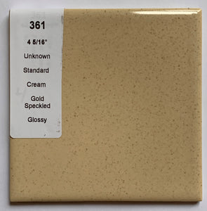 MMT-361 Vintage 4 5/16 Ceramic 1 pc Wall Tile Tan Brown Gold Speckled Glossy