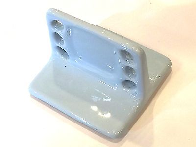 V4-A) Vintage Ceramic Wall Mount Toothbrush Cup Holder Light Ice Blue Glossy