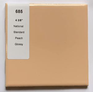 "MMT-685 Vintage 4 3/8"" Ceramic 1 pc National Wall Tile Peach Solid Glossy"