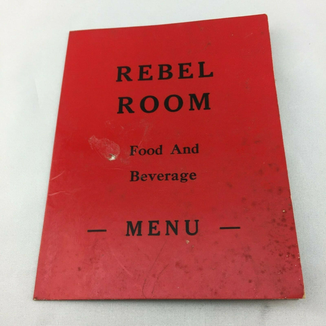 N-145 Vintage Menu Rebel Room MCM Bar and Restaurant Food and Beverage Menu