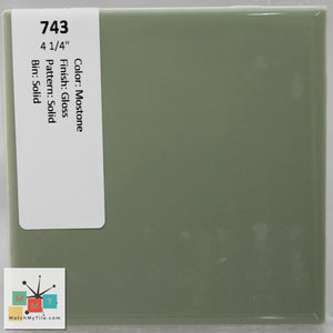"MMT-743 Vintage 4 1/4"" Ceramic 1 pc Wall Tile Moss Green Glossy"
