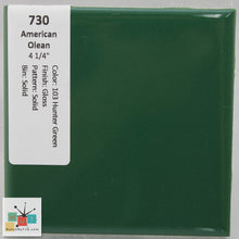 "Load image into Gallery viewer, MMT-730B Vintage 4 1/4"" Ceramic 1 pc Wall Tile AO 14 Hunter Green Glossy Bullnose"