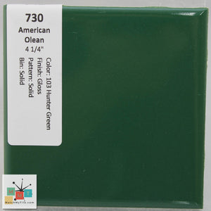 "MMT-730B Vintage 4 1/4"" Ceramic 1 pc Wall Tile AO 14 Hunter Green Glossy Bullnose"