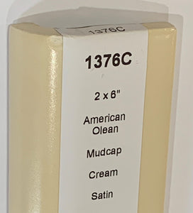 "MMT-1376C Vintage 2x6"" Ceramic 1 pc Tile AO Cream Light Peach Matte Mudcap"