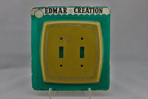 "LP-1727 Edmar 5 1/2"" Golden Yellow Greek Plastic Vintage Dual Switch Electrical Cover"