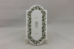"LP-1730 General 3 1/4"" White Floral Metal Vintage Switch Electrical Cover"