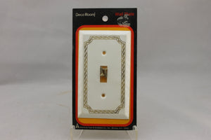 "LP-1735 American Tack & Hardware 3"" White Gold Border Metal Vintage Switch Electrical Cover"