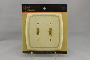 "LP-1758 American Tack & Hardware 5 1/2"" Off-White Greek Plastic Vintage Dual Switch Electrical Cover"