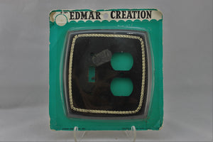 "LP-1769 Edmar 5 1/2"" Black Greek Plastic Vintage Switch & Dual Outlet Electrical Cover"