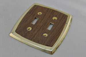 "LP-1773AI Edmar 5 1/2"" Brown Wood Plastic Vintage Dual Switch Electrical Cover"
