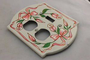 "LP-1779AI General 5"" Cream & Pink Floral Metal Vintage Switch Electrical Cover"
