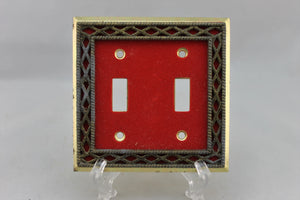 "LP-1780AI 4 5/8"" Red Lattice Trim Metal Vintage Dual Switch Electrical Cover"