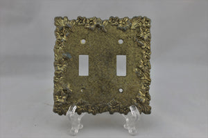 "LP-1790 Edmar 4 3/4"" Brass Floral Metal Vintage Dual Switch Electrical Cover"