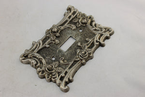 "LP-1792 American Tack & Hardware 3 1/2"" Silver Brass Ornate Floral Brass 1967 Switch Electrical Cover"