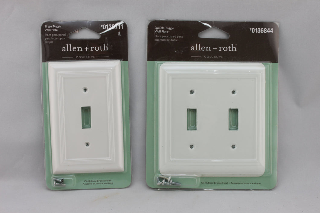 LP-1799 Allen + Roth Lot White Metal Vintage Lot Switches Electrical Cover