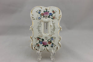 "LP-1805AI 3 3/4"" White Ornate Floral Ceramic / Porcelain Ornate Switch Electrical Cover"