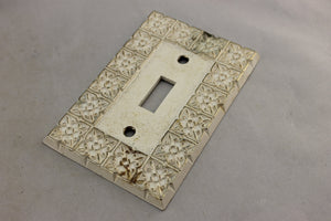 "LP-1840AI National Lock 3 1/8"" White Ornate Gold Trim Brass Vintage Switch Electrical Cover"