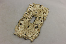 "Load image into Gallery viewer, LP-1846 5 3/8"" White Ornate Trim Metal Vintage Switch Electrical Cover"