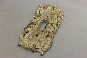 "LP-1846 5 3/8"" White Ornate Trim Metal Vintage Switch Electrical Cover"