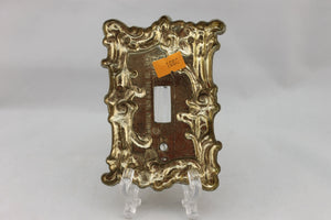 "LP-1860 American 3 1/2"" Gray Brass Ornate Floral Brass 1967 Switch Electrical Cover"