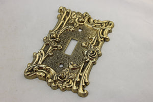"LP-1861 American 3 1/2"" Gold Ornate Floral Brass 1967 Switch Electrical Cover"