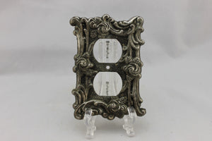 "LP-1864 American 3 1/2"" Aged Metal Ornate Floral Brass 1967 Dual Outlet Electrical Cover"