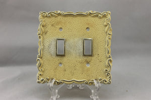 "LP-1867 5"" Cream Ornate Gold Trim Plastic Vintage Dual Switch Electrical Cover"