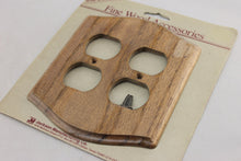 "Load image into Gallery viewer, LP-1879 Jackson Man. Co. 5"" Finished Wood Wood Wood Vintage Dual Outlet Electrical Cover"