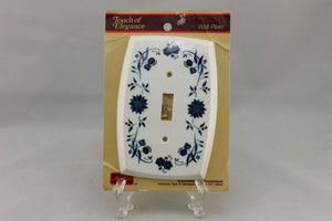 "LP-1900 American Tack & Hardware 3 3/4"" White Blue Flowers Vintage Switch Electrical Cover"