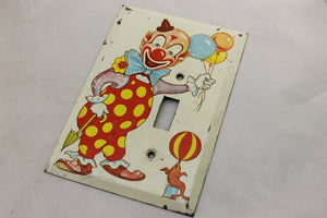 "LP-1902 3 7/8"" Cream Clown Metal Vintage Switch Electrical Cover"
