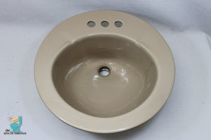 S-1632 Vintage 1983 Ceramic Tan Brown Kohler Sink F-37 K2201 Round Drop In Gloss