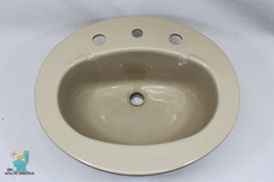 S-1637 Vintage Ceramic Tan Brown Kohler Sink Oval Drop In Gloss