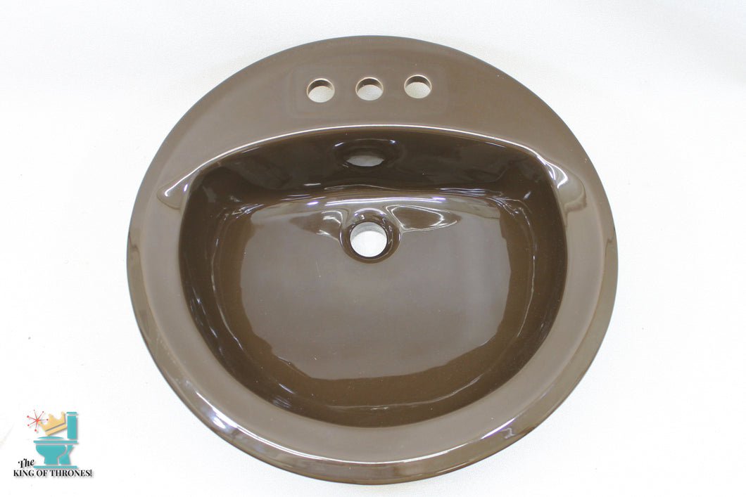 S-1638 Vintage 1953 Ceramic Dark Brown American Standard Sink Round Drop In Gloss