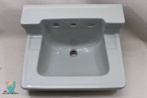 S-1640 Antique 1948 Ceramic Silver Gray Sink Square Wall Mount Gloss