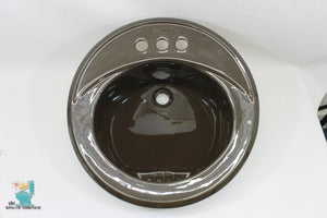 S-1646AI Vintage 1977 Ceramic Brown Crane Sink Round Drop In Gloss