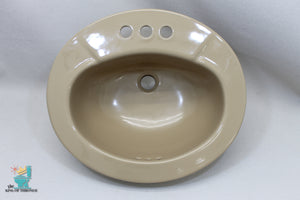 S-1683AI Vintage Ceramic Lark Brown Kohler Sink Oval Drop In Gloss