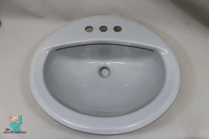 S-1685 Vintage Ceramic Silver Lining American Standard Sink Oval Drop In Gloss