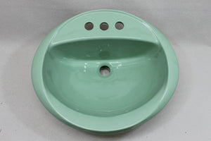 S-1919 NOS Vintage Ceramic Sink Green Drop-In Round