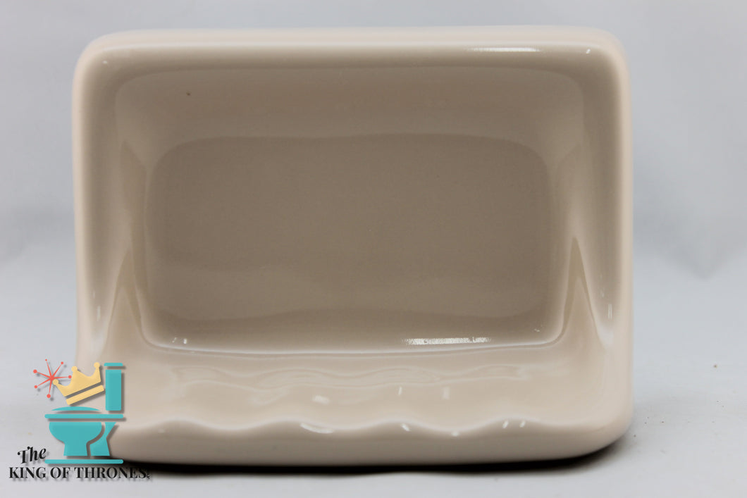 SD-1500 Vintage Ceramic Pebble Brown Soap Dish Gloss