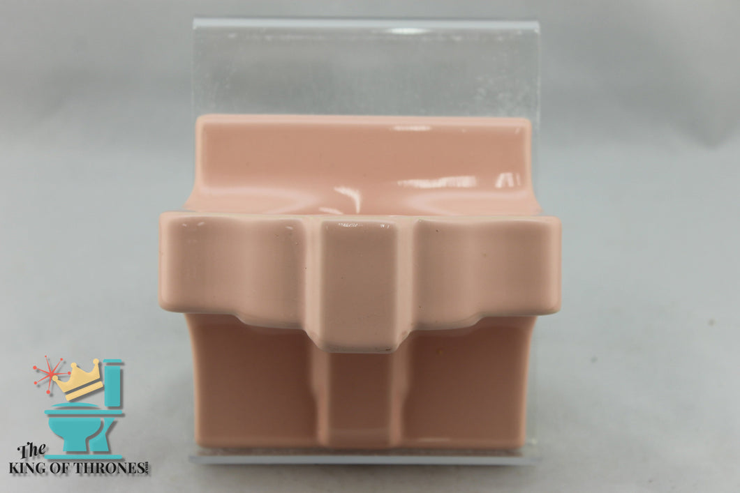 SD-1511 Vintage Ceramic Pink Peach Soap Dish Art Deco Gloss