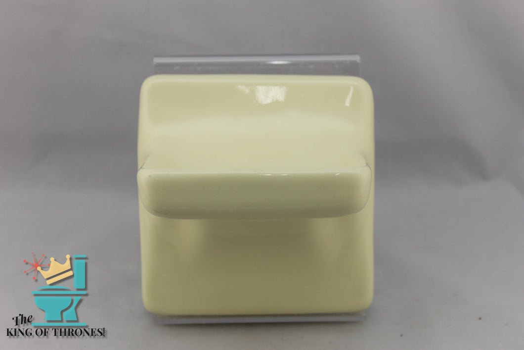 SD-1524 Vintage Ceramic Pastel Yellow Soap Dish Gloss