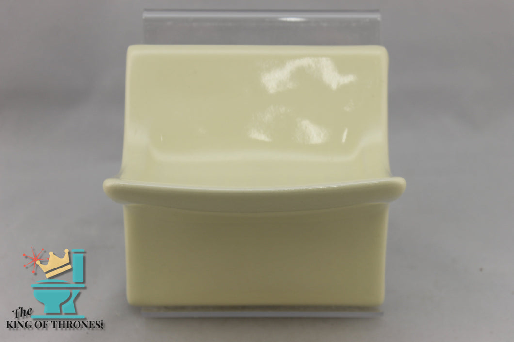 SD-1533 Vintage Ceramic Pastel Yellow Soap Dish Curve Gloss